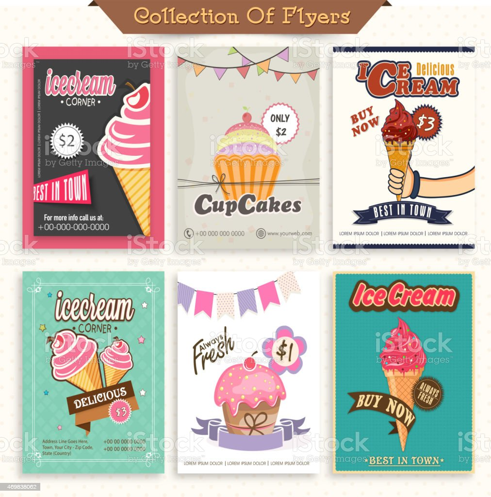 Set of Ice Cream and Cupcake flyers. vector art illustration