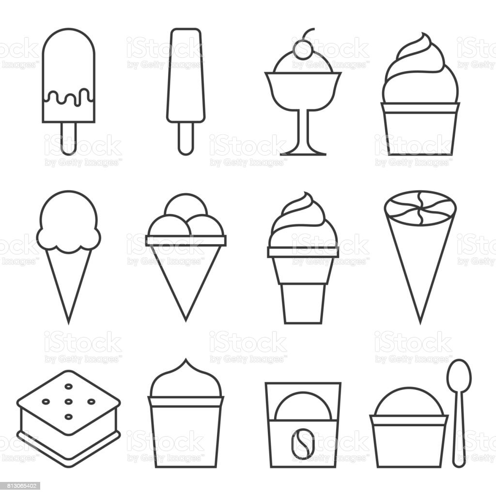 Set of Ice cream icon collection vector art illustration