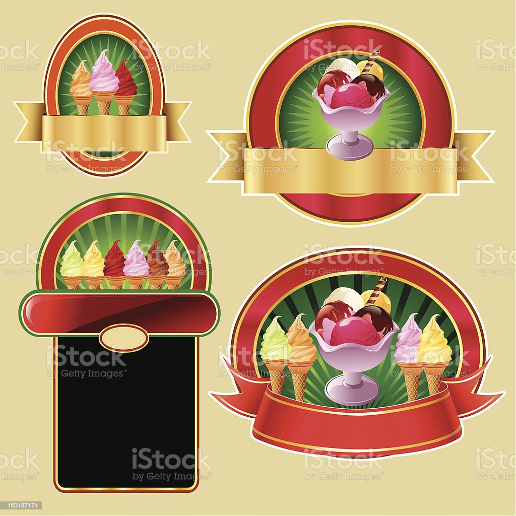 set of ice cream labels royalty-free stock vector art