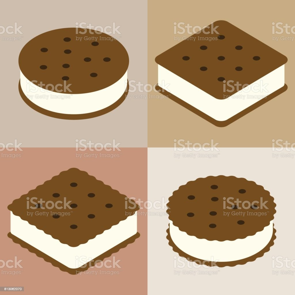 Set of ice cream sandwich cookie collection vector art illustration