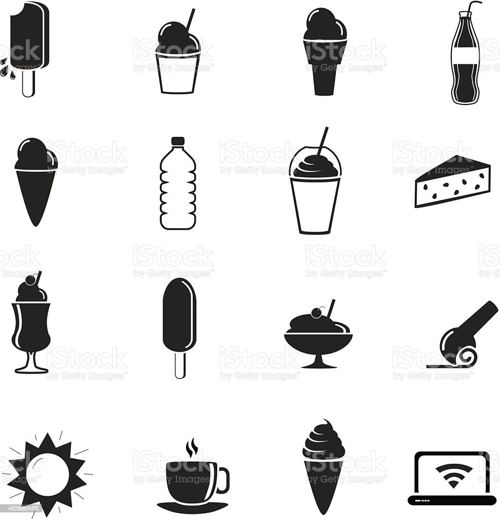 Set of ice cream shop icons vector art illustration