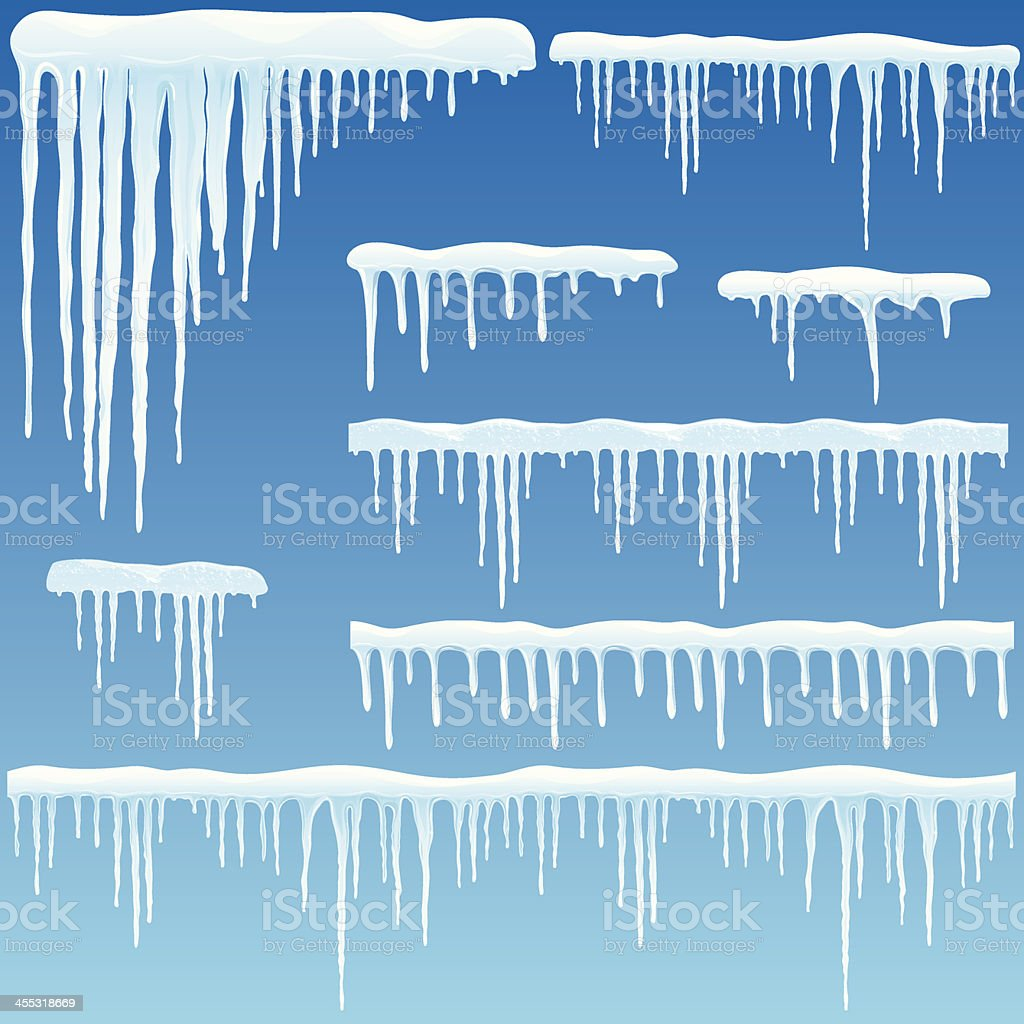 Set of icicles with snow vector art illustration