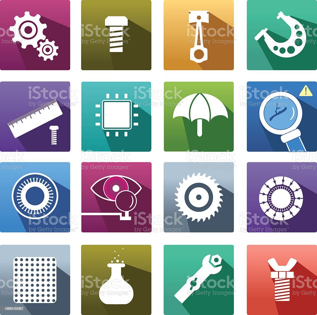 Set of icon of spare parts. vector art illustration