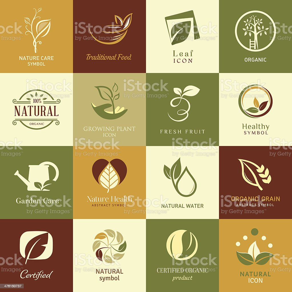 Set of icons and symbols for nature health and organic vector art illustration