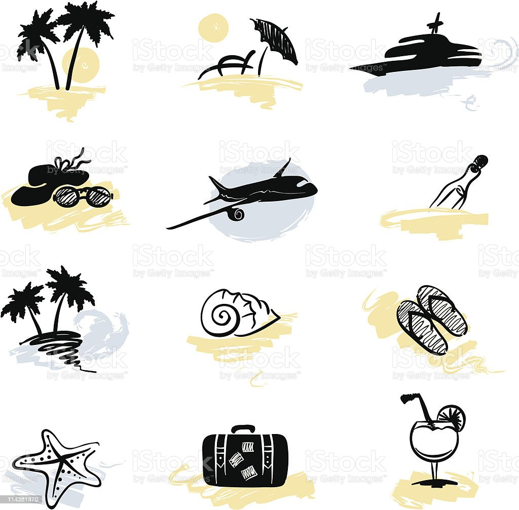 Set of icons - beach vacation royalty-free stock vector art