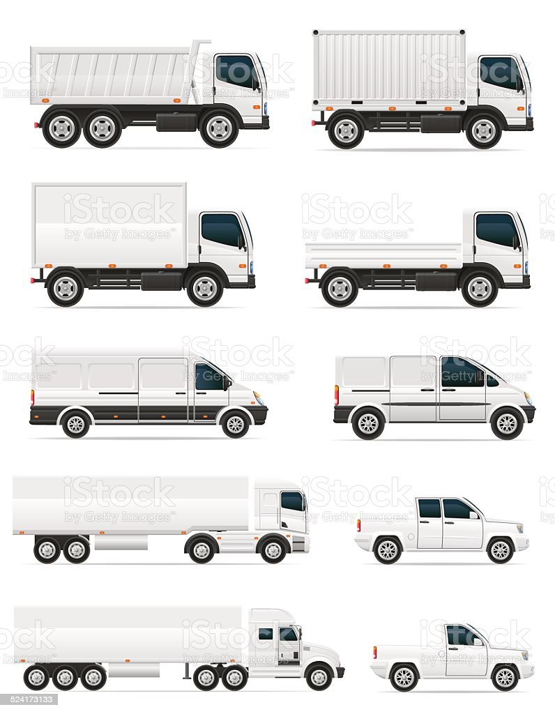 set of icons cars and truck for transportation cargo vector art illustration