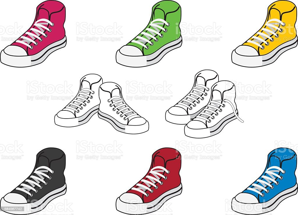 Set of icons colored shoes vector art illustration