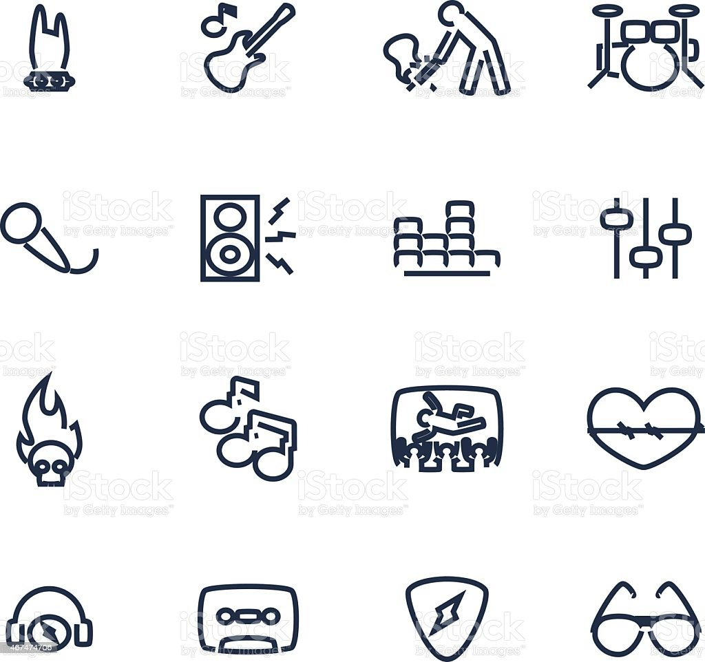 Set of icons dealing with music vector art illustration
