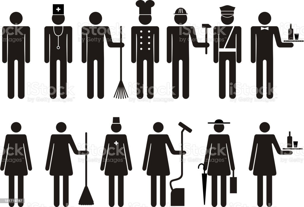 Set of icons figure people job occupation royalty-free stock vector art