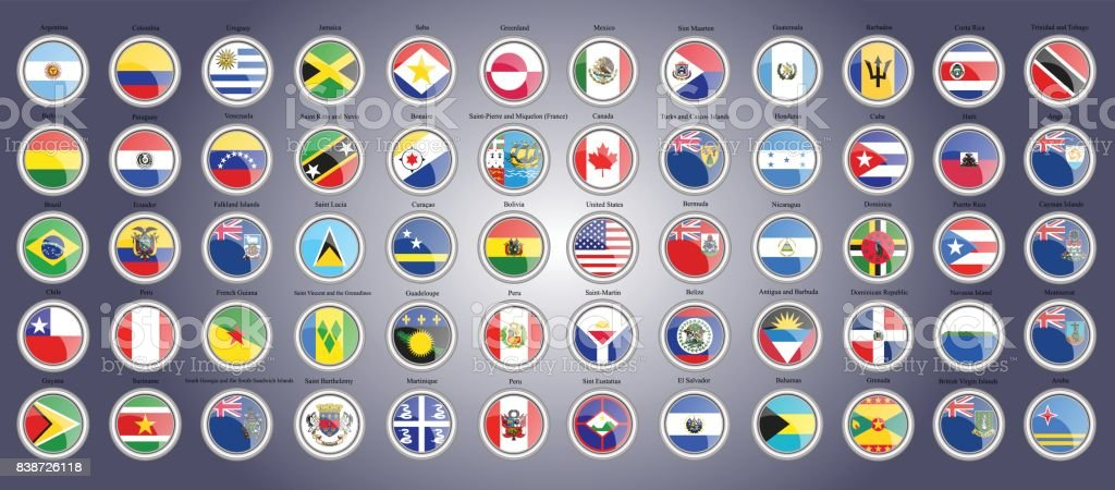 Set of icons. Flags of North, South and Central America. vector art illustration