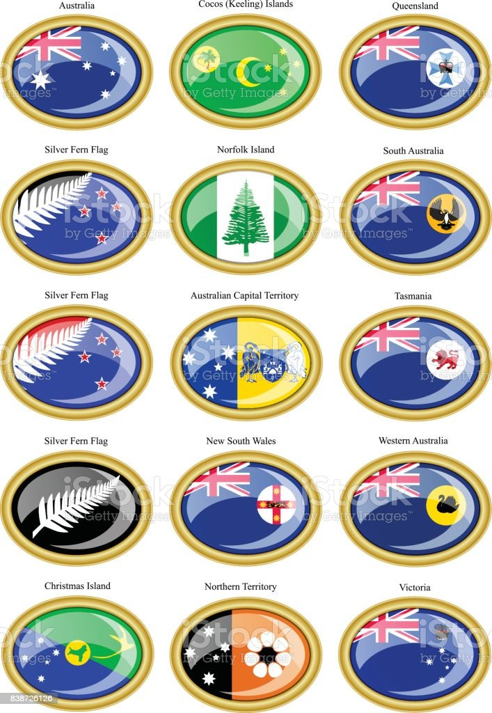 Set of icons. Flags of states and territories of Australia. vector art illustration