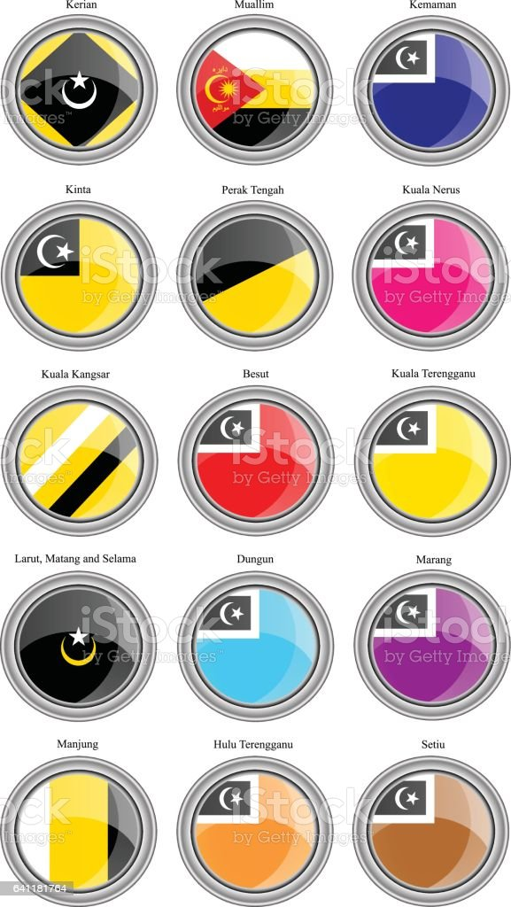 Set of icons. Flags of the Malaysian districts vector art illustration