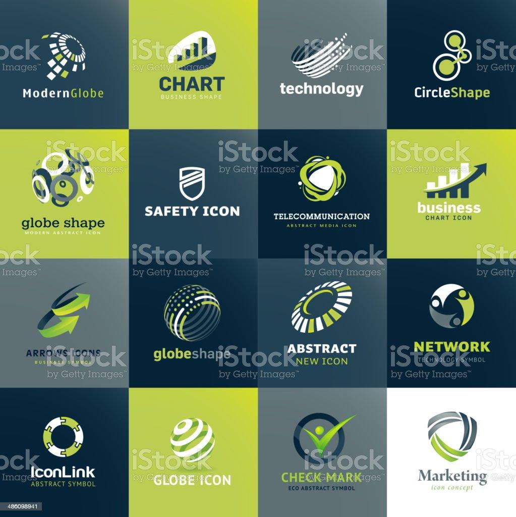 Conjunto de iconos de negocios y de la tecnología illustracion libre de derechos libre de derechos