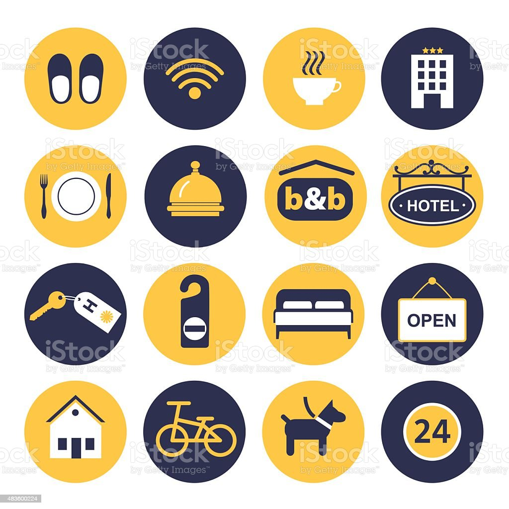 set of icons for hotel service vector art illustration