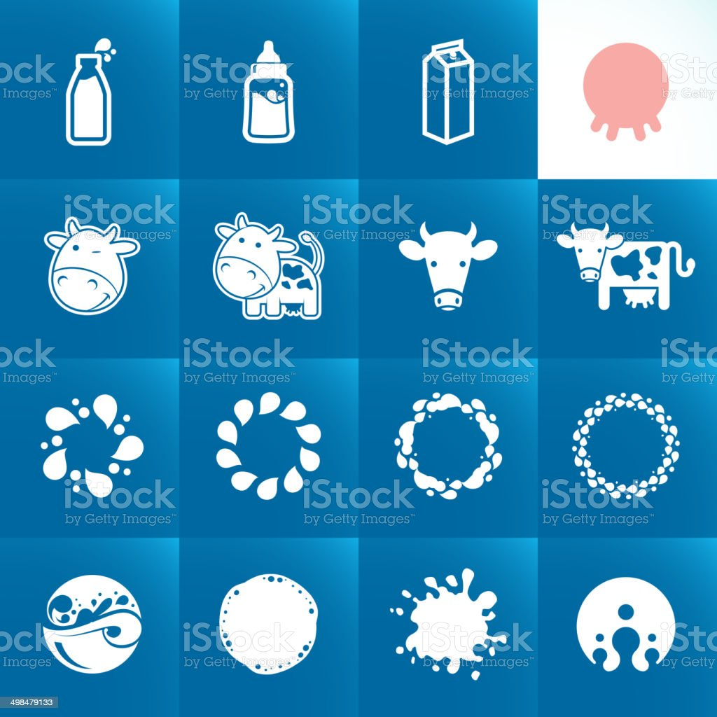 Set of icons for milk. Abstract shapes and elements. vector art illustration
