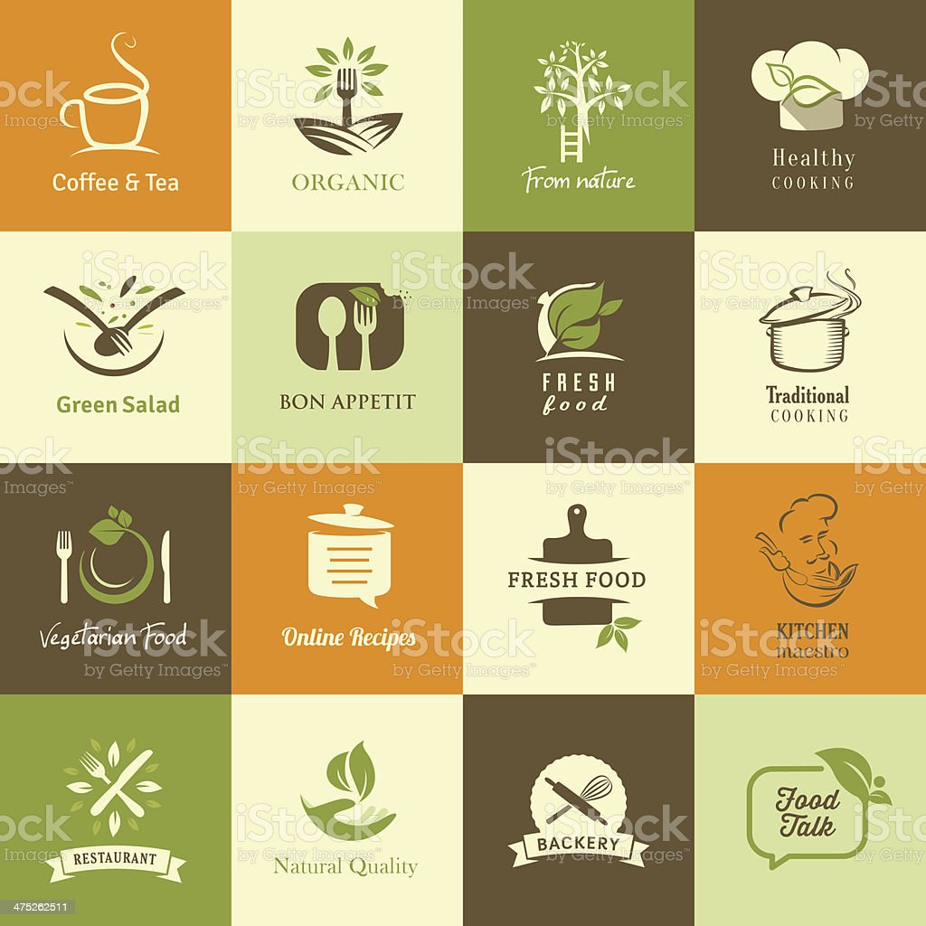 Set of icons for organic and vegetarian food vector art illustration