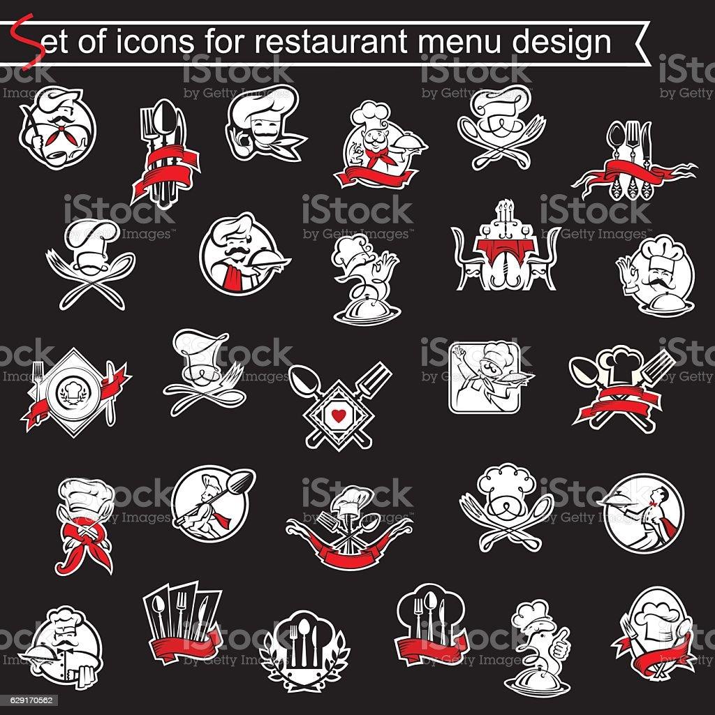 set of icons for restaurant menu design vector art illustration