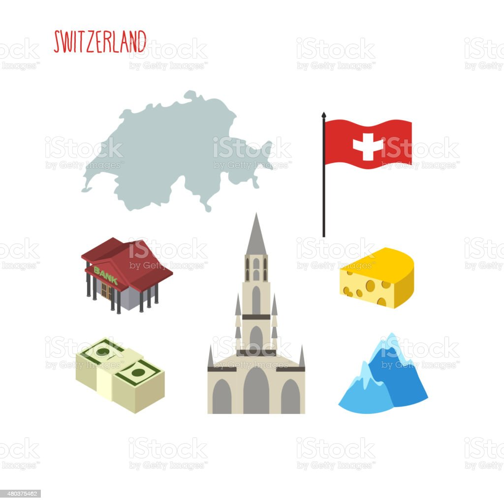 Set of icons for Switzerland. Map and flag of country. vector art illustration