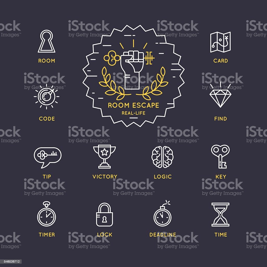 Set of icons for the quest and room escape. vector art illustration