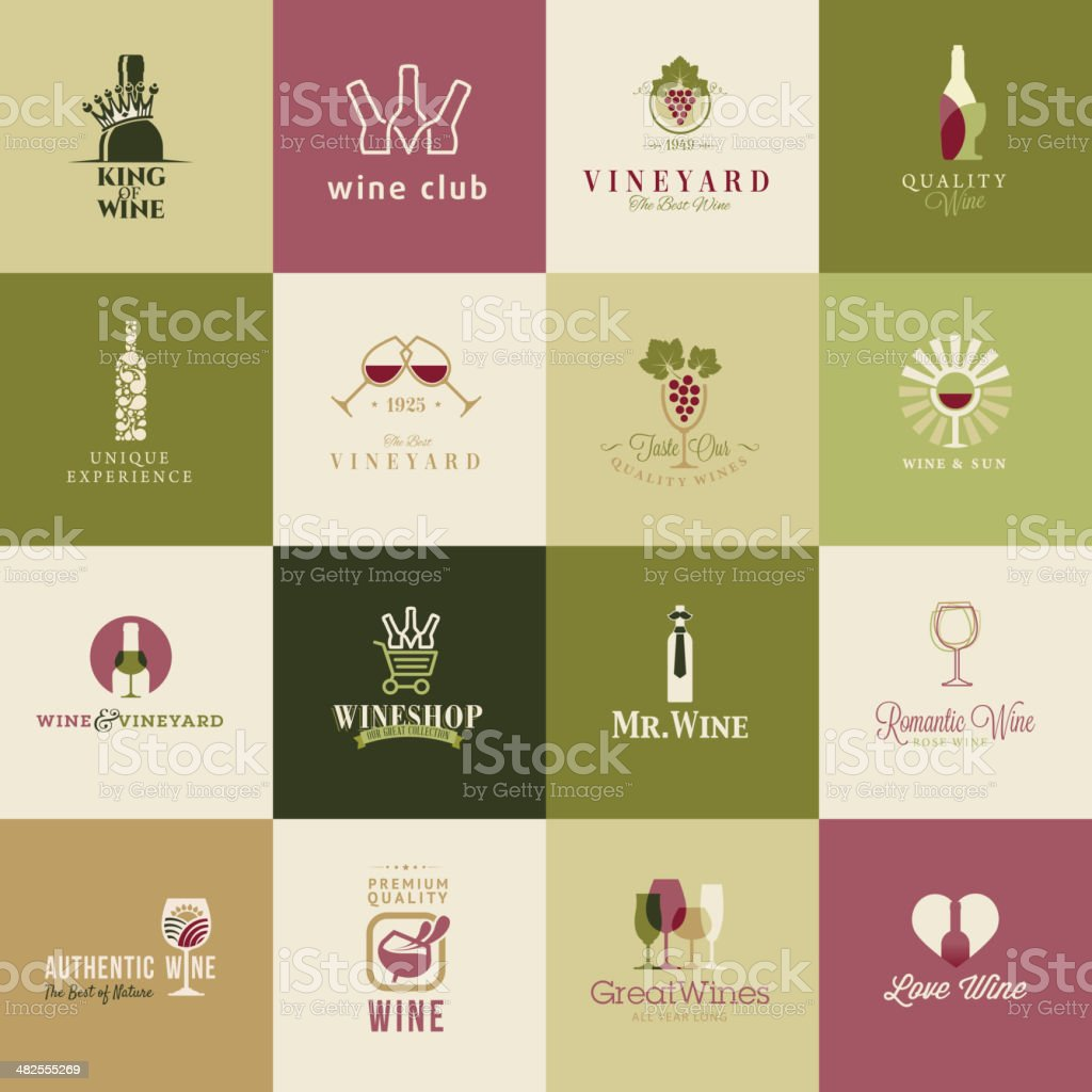 Set of icons for wine, wineries, restaurants and wine shops vector art illustration