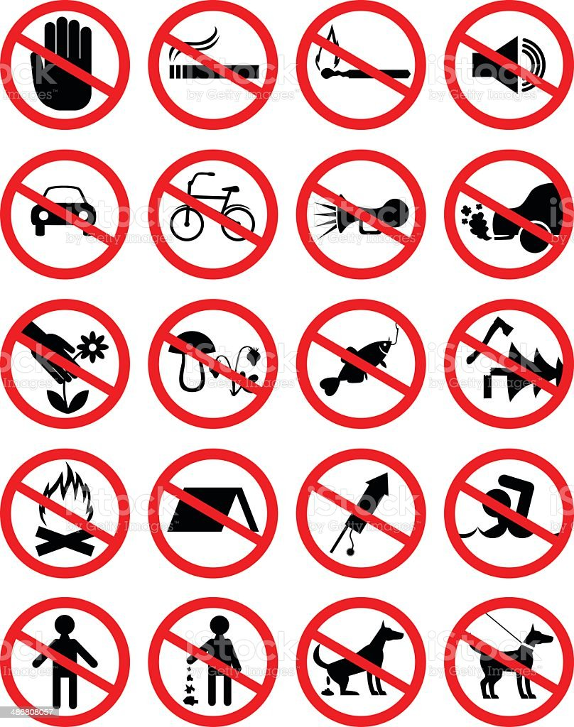Set of icons forbidding vector art illustration
