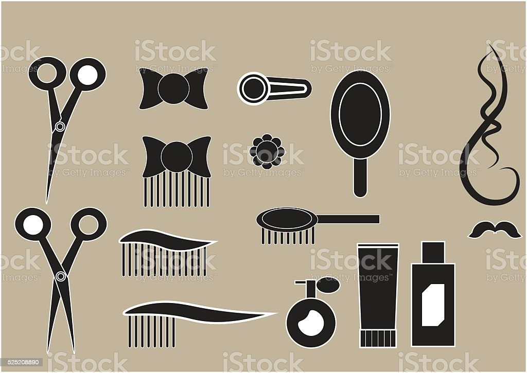 set of icons hairdressing salon vector art illustration