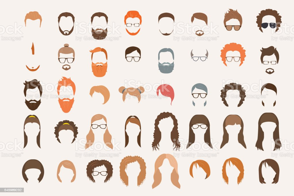 Set of icons. Hearstyle and beards. vector art illustration