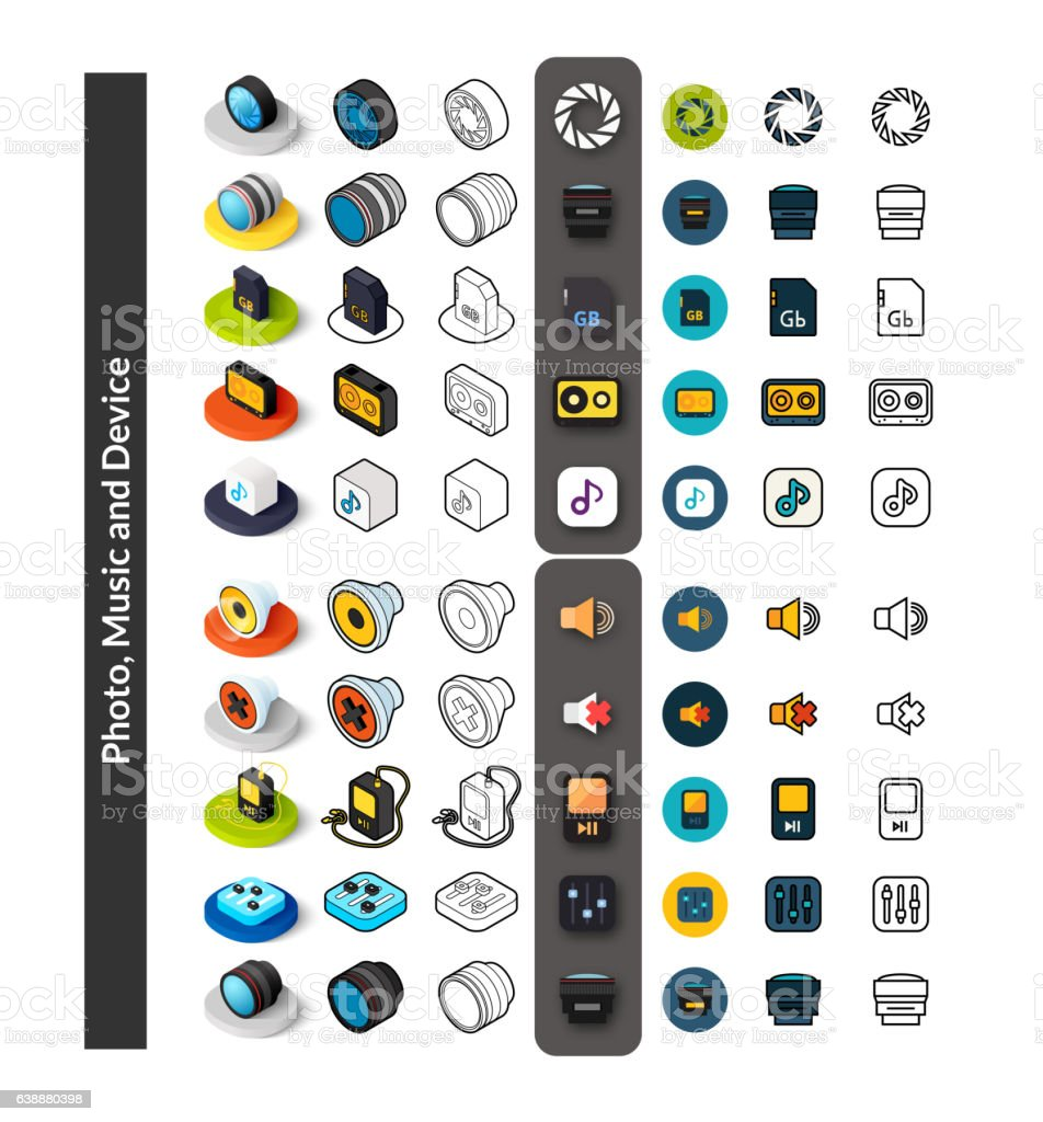 Set of icons in different style, isometric flat and otline vector art illustration
