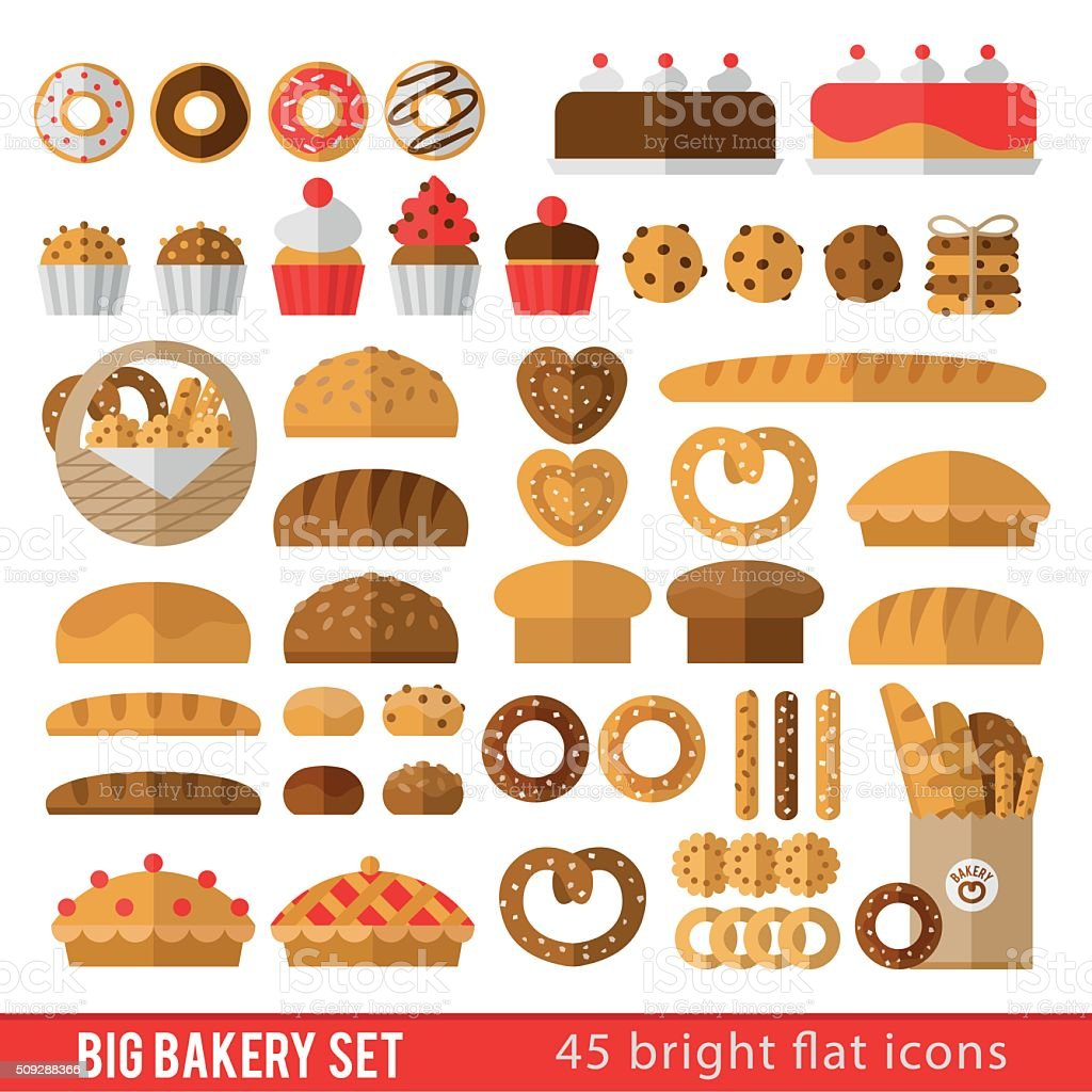 Set of icons in  flat style on the baking theme vector art illustration
