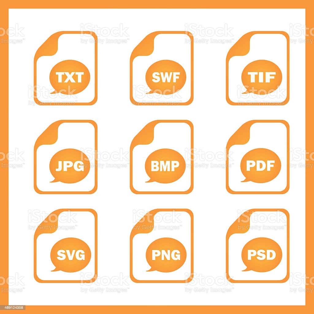 Set of icons indicating the digital formats vector art illustration