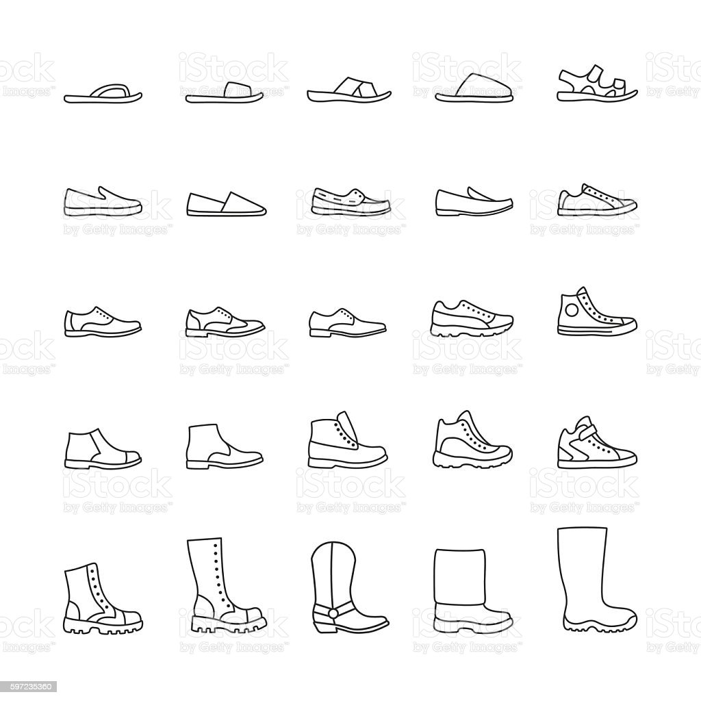 Set of icons men's shoes. Vector line icons vector art illustration