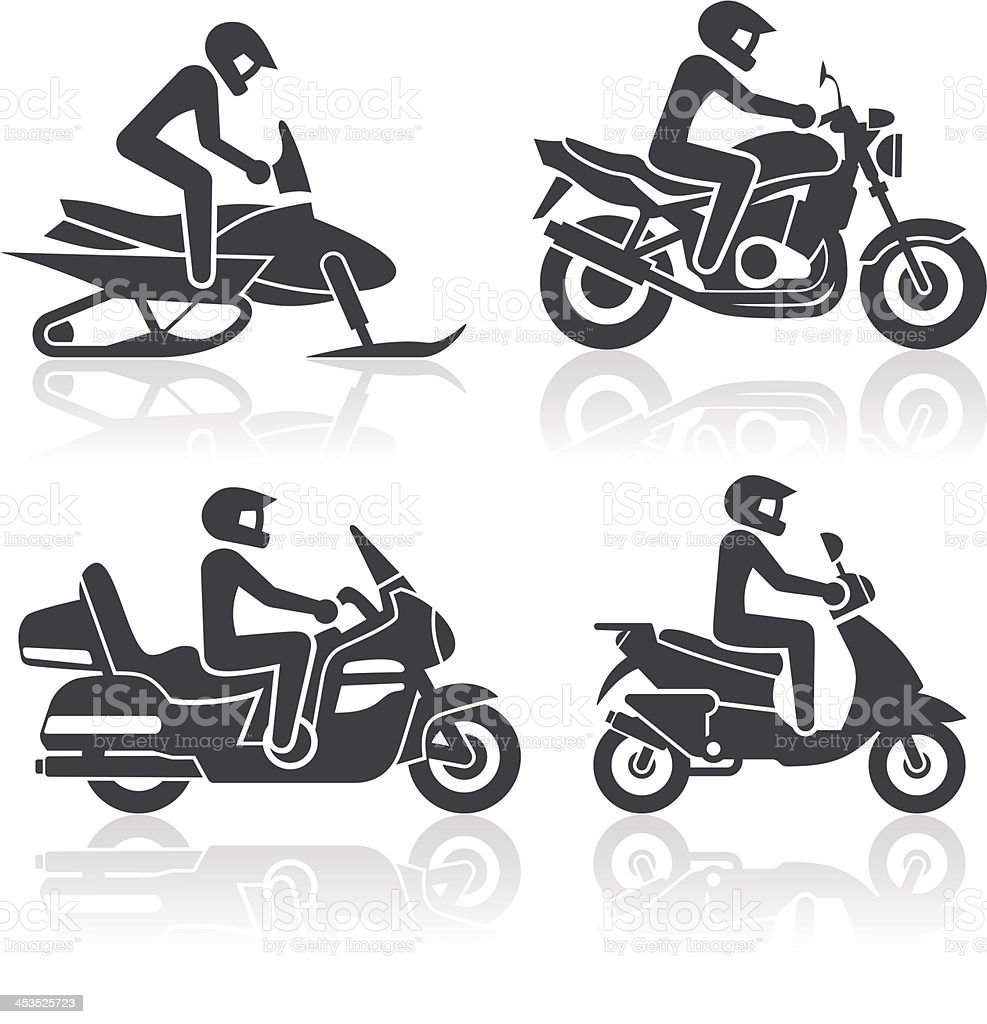 Set of icons - motorcycle lifestyle vector art illustration