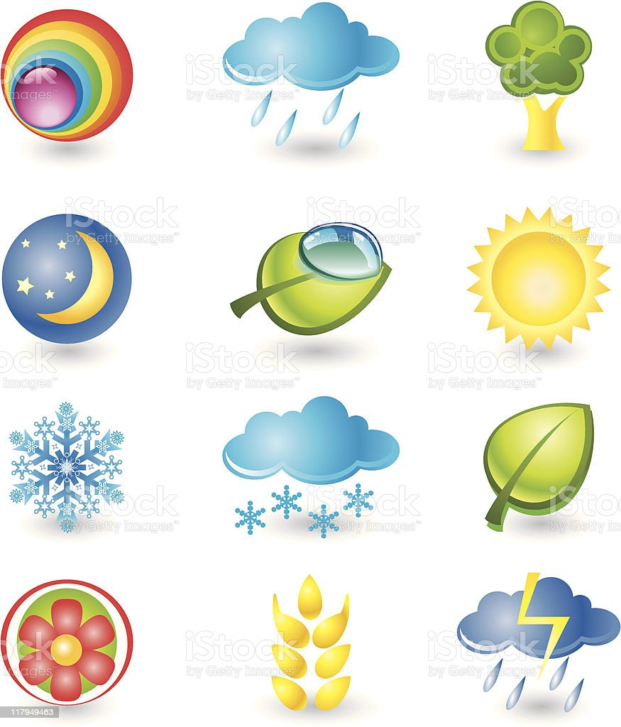 Set of icons. Nature and weather royalty-free stock vector art