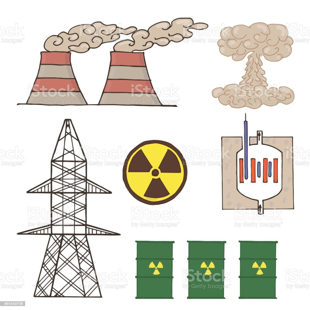 set of icons nuclear energy. vector art illustration