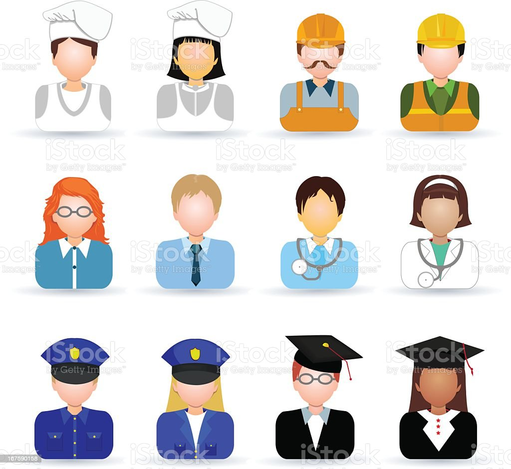Set of icons of people in different professions on white vector art illustration