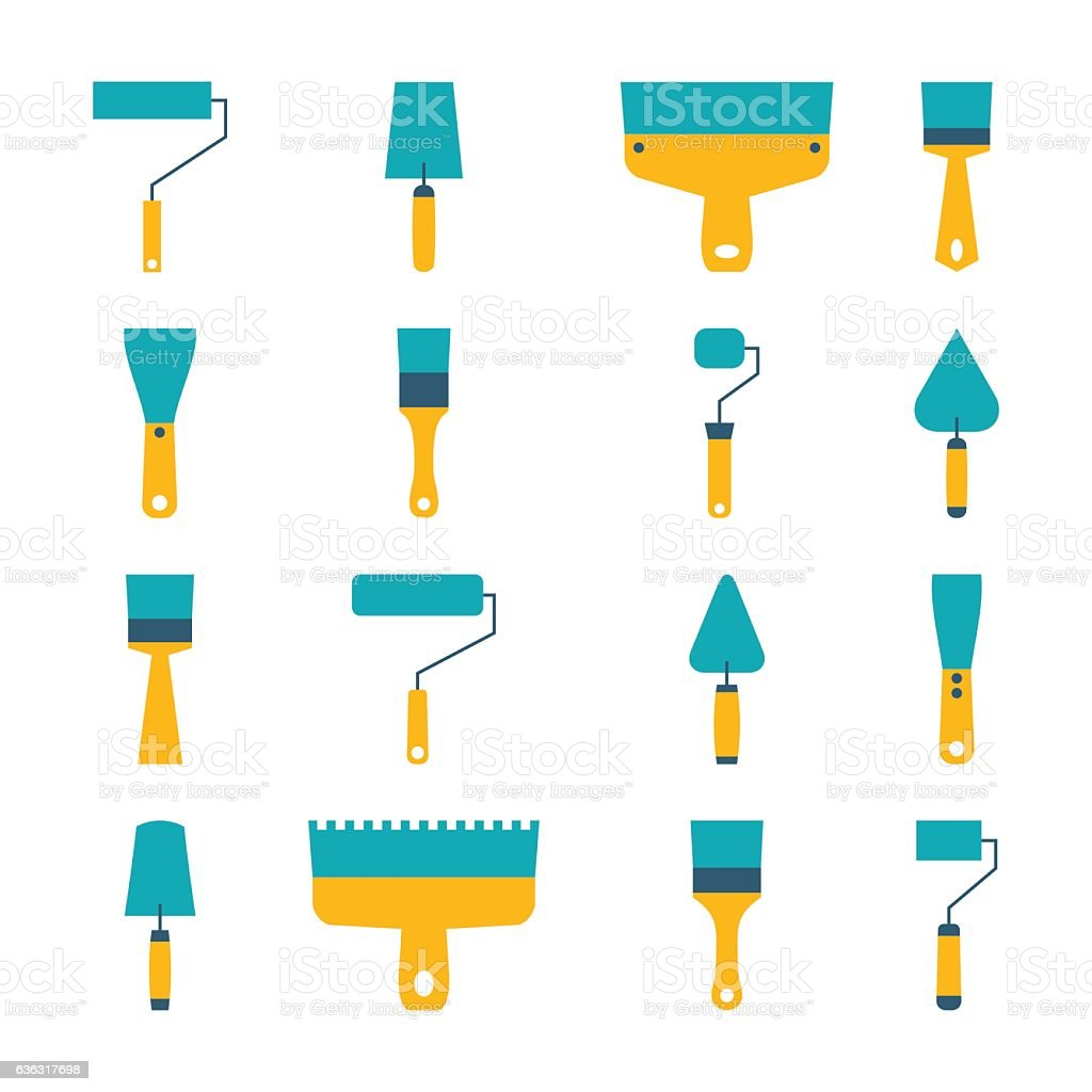 Set of icons of tool, vector illustration. vector art illustration