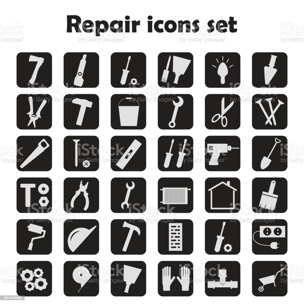 Set of icons of work tools. vector art illustration