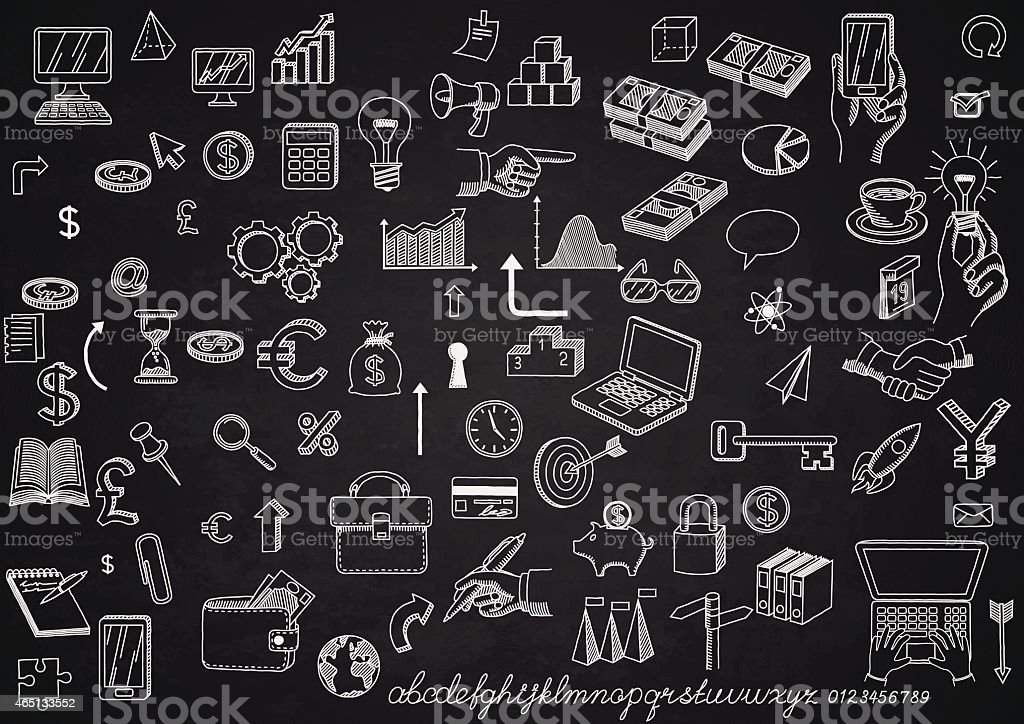 Set of icons on chalkboard vector art illustration