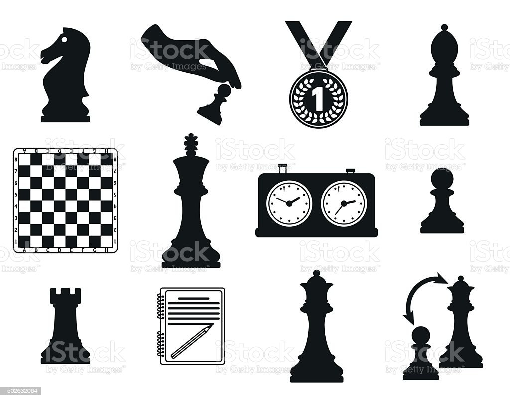 Set of icons on the chess theme. vector art illustration