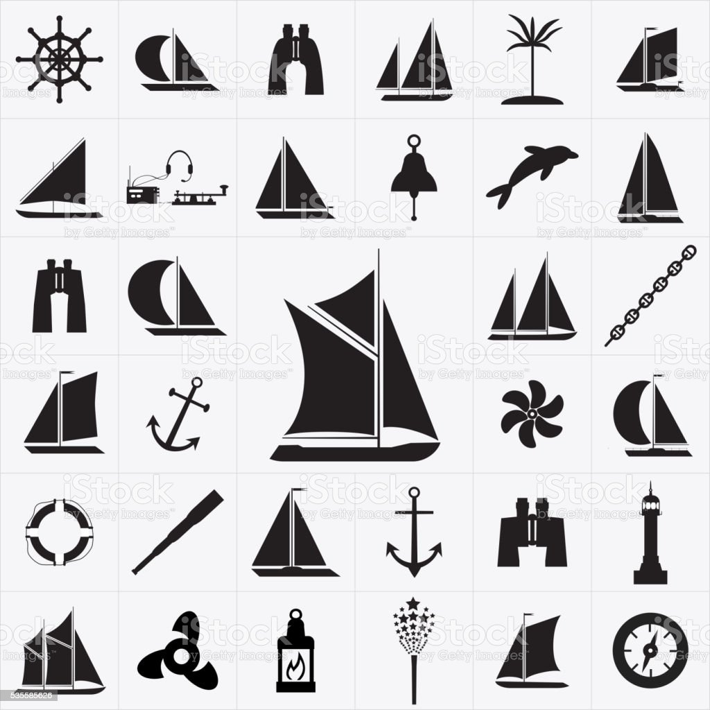 Set of icons on the theme of travel by sea vector art illustration