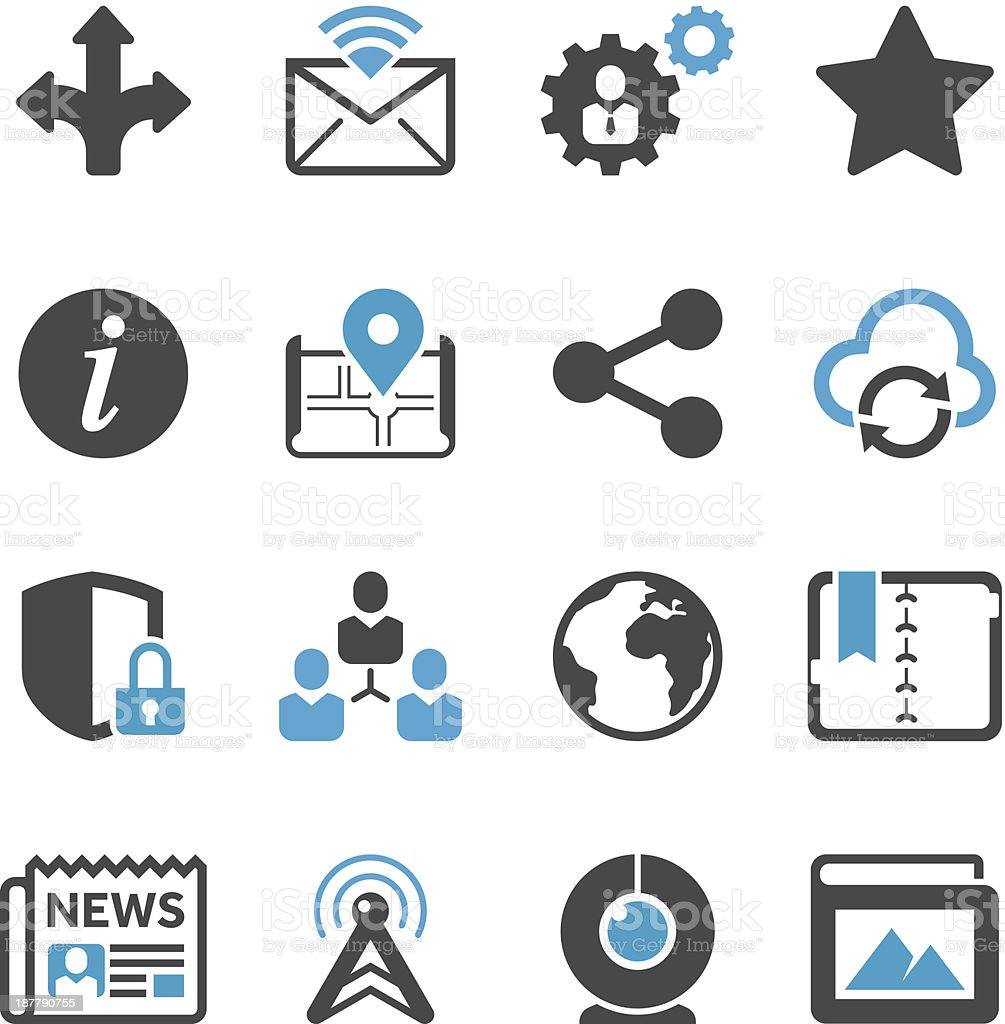 Set of icons one would associate with social media royalty-free stock vector art