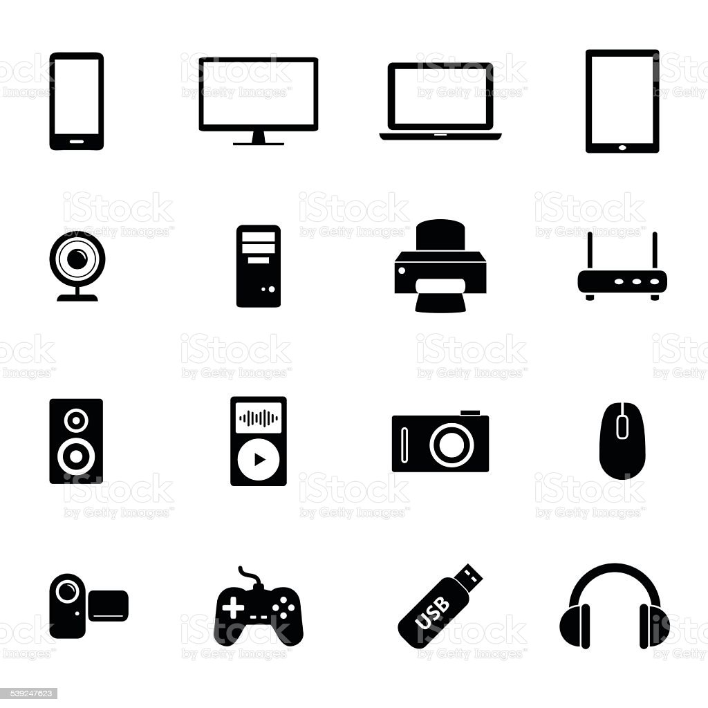 Set of icons - PC hardware and electronic devices vector art illustration