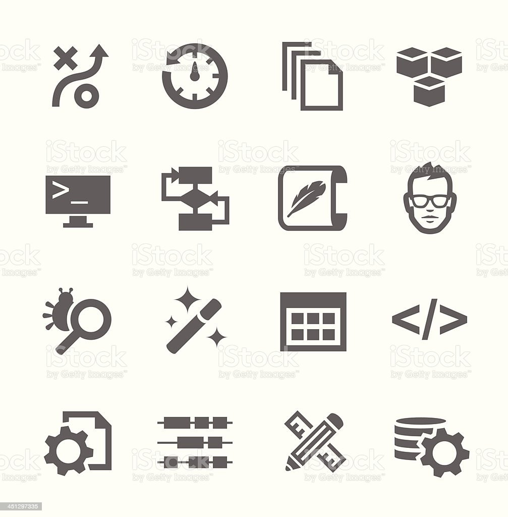 Set of icons related to business development vector art illustration