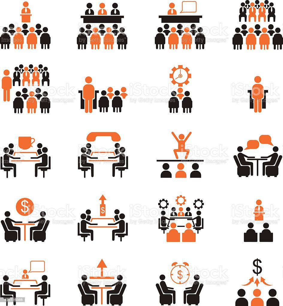 Set of icons related to business management and conferences vector art illustration