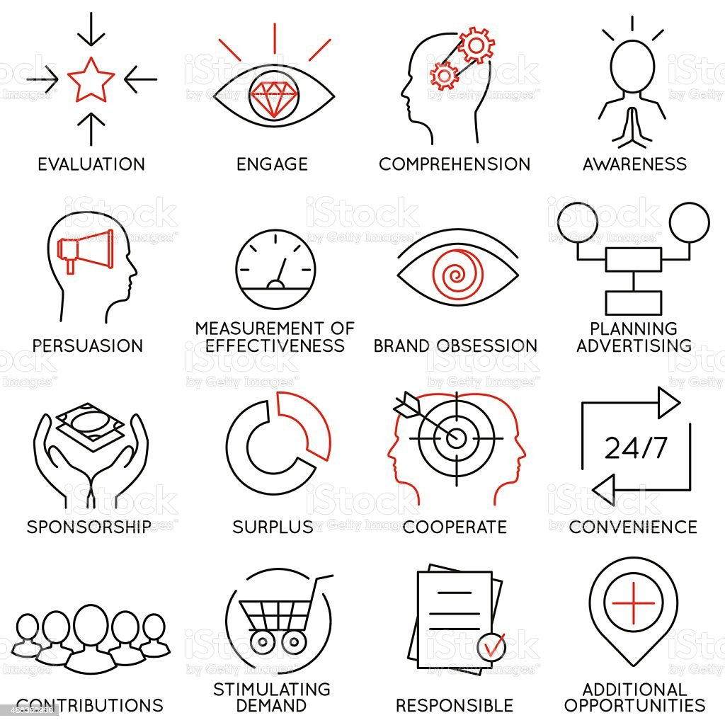 Set of icons related to business management - part 10 vector art illustration