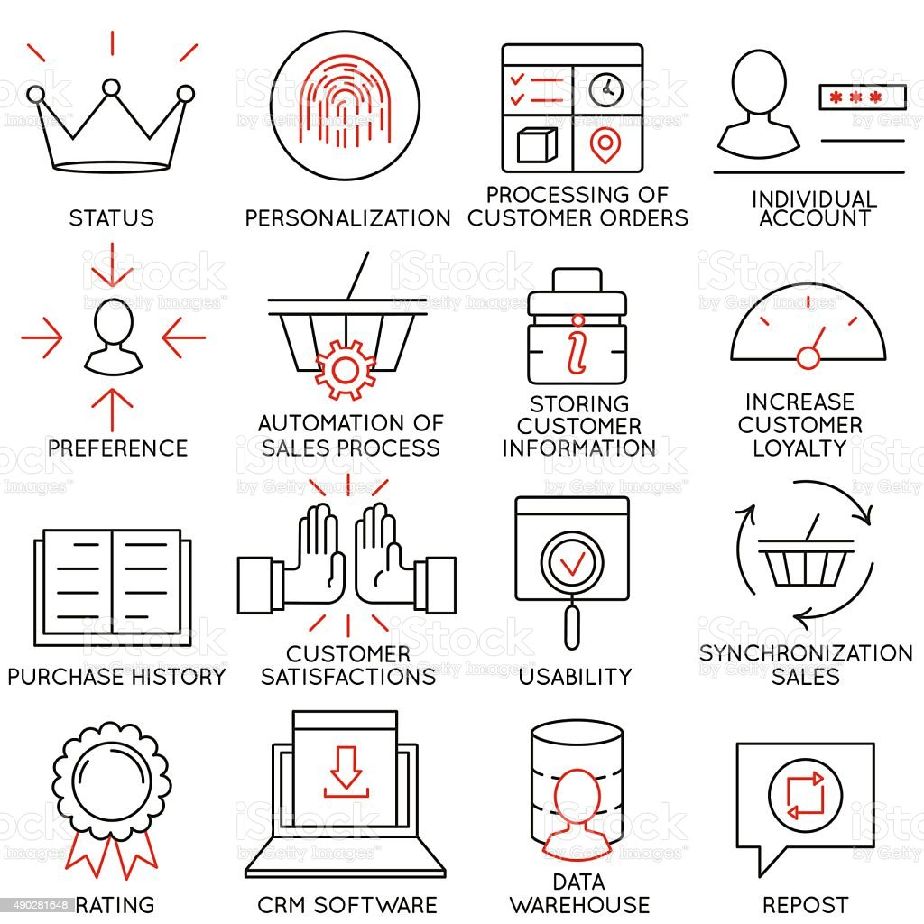 Set of icons related to business management - part 12 vector art illustration