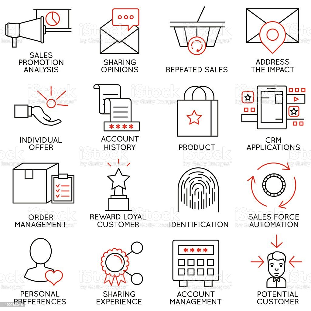 Set of icons related to business management - part 14 vector art illustration