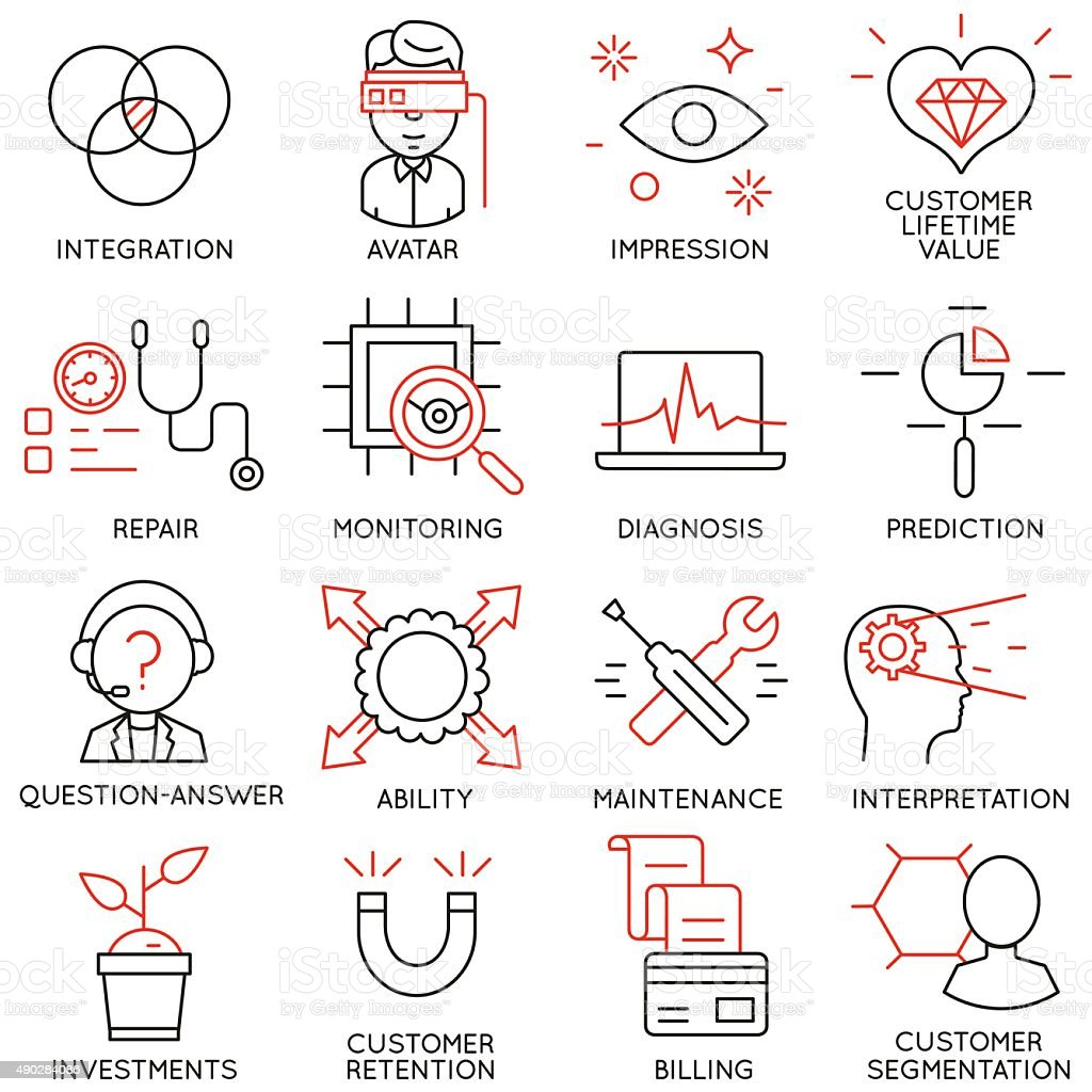 Set of icons related to business management - part 16 vector art illustration