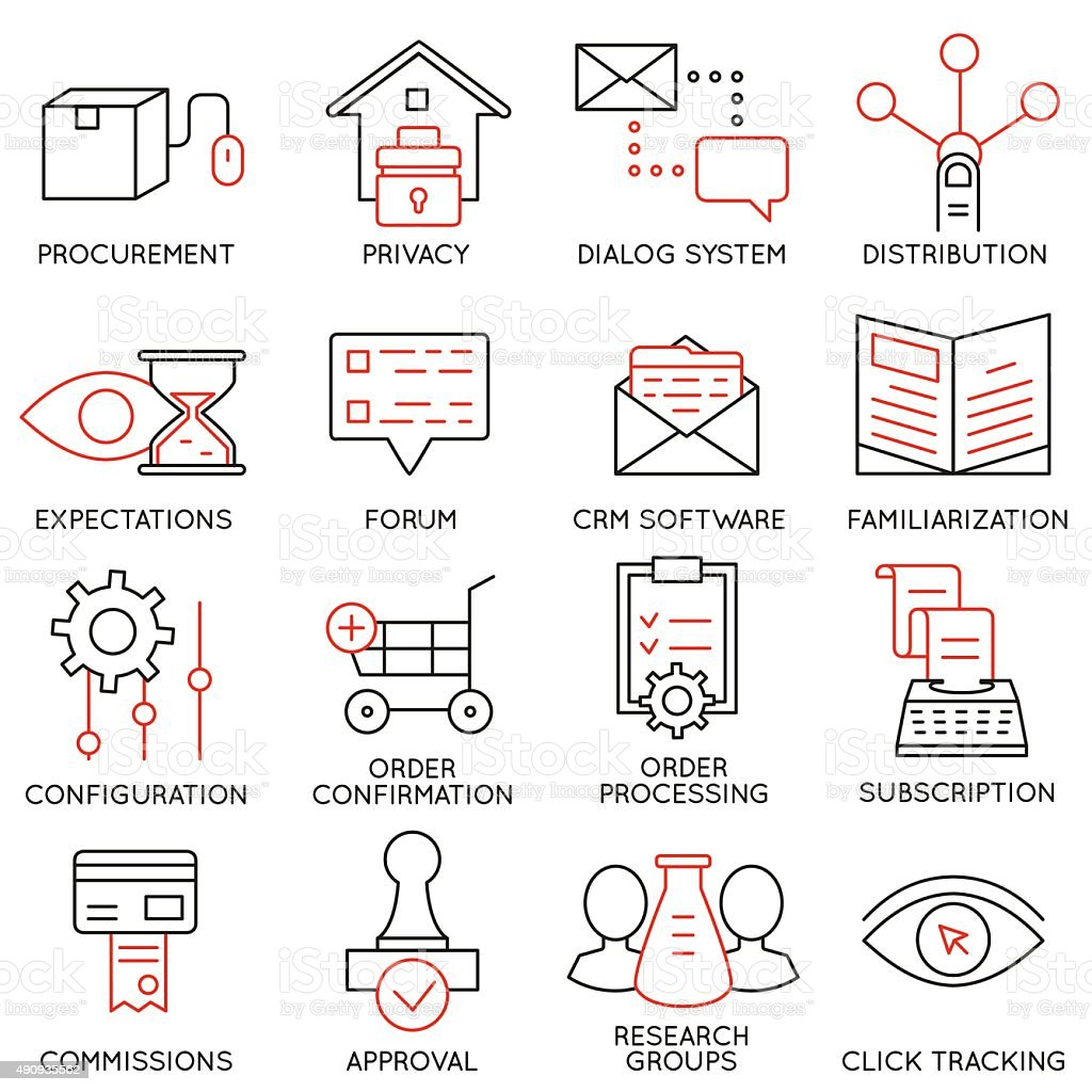 Set of icons related to business management - part 18 vector art illustration