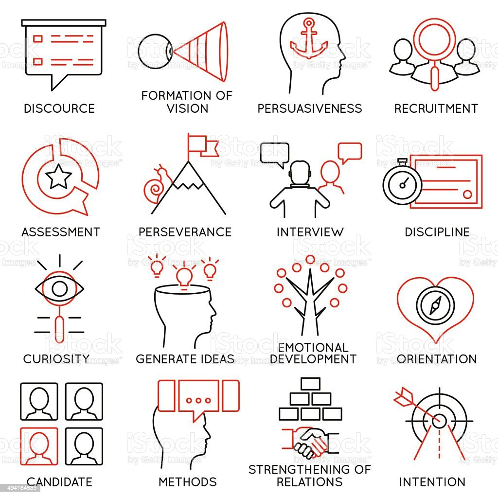 Set of icons related to business management - part 24 vector art illustration